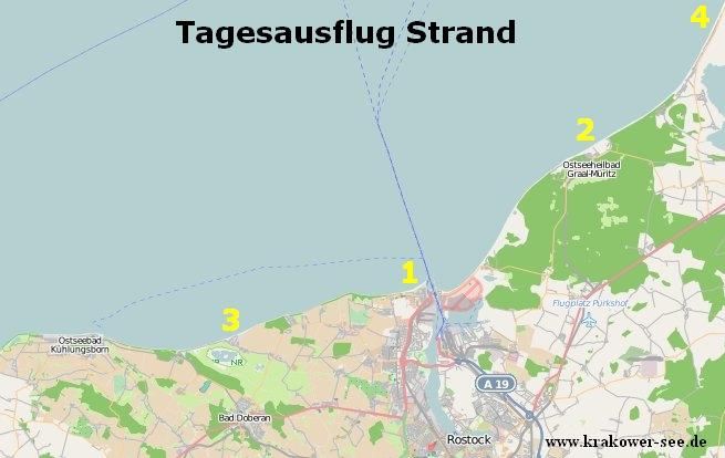 Karte Ostsee Strände nähe Krakower See