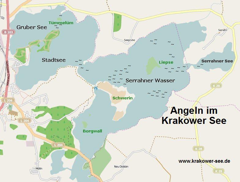 Karte für Angler am Krakower See