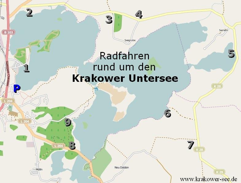 Karte Radtour: Um den Krakoweruntersee