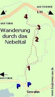 Karte Wandern Nebeltal Mecklenburg-Vorpommern